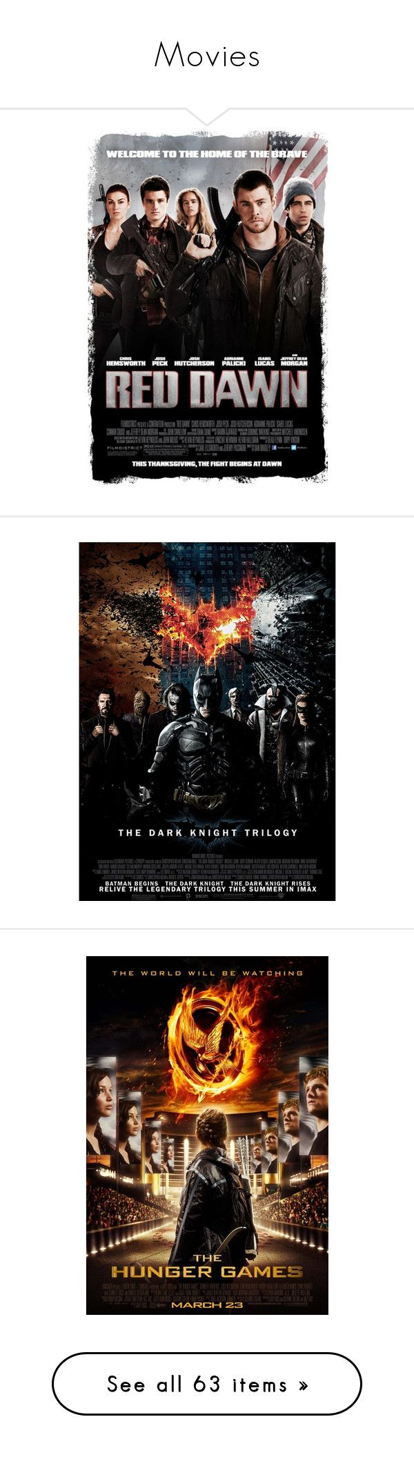 """""""Movies"""" by mermaidprincezz ❤ liked on Polyvore featuring movies, batman, backgrounds, hunger games, the hunger games, pictures, films, other, extras and random"""