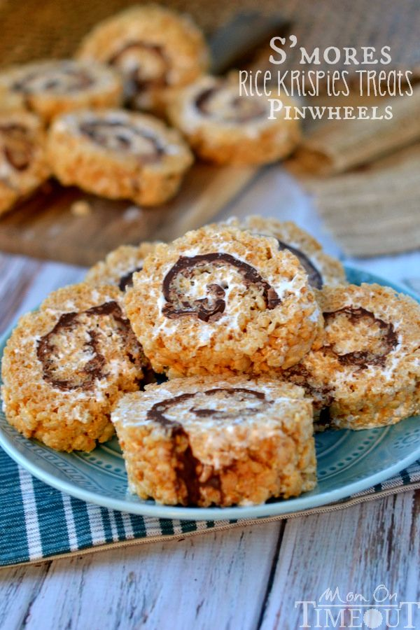 Say goodbye to boring squares and hello to these fun S'mores Rice Krispies Treats Pinwheels! All the flavor of s'mores wrapped up inside a sweet rice krispies treat package!