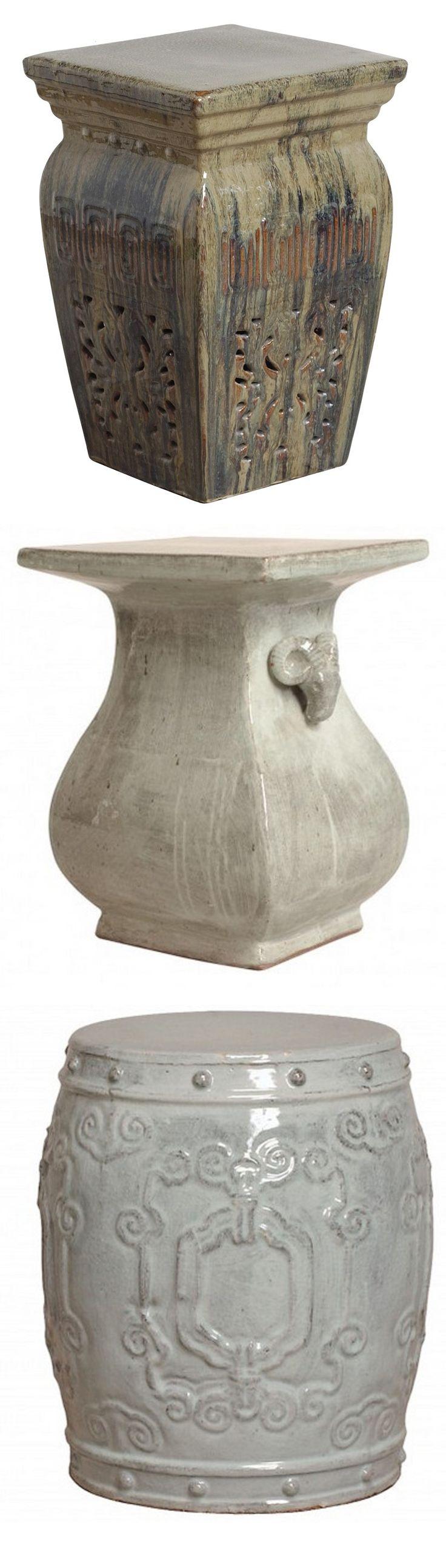 Gray Garden Stool | Gray Ceramic Stools | Gray Porcelain Stool | Gray Ceramic  Stool |