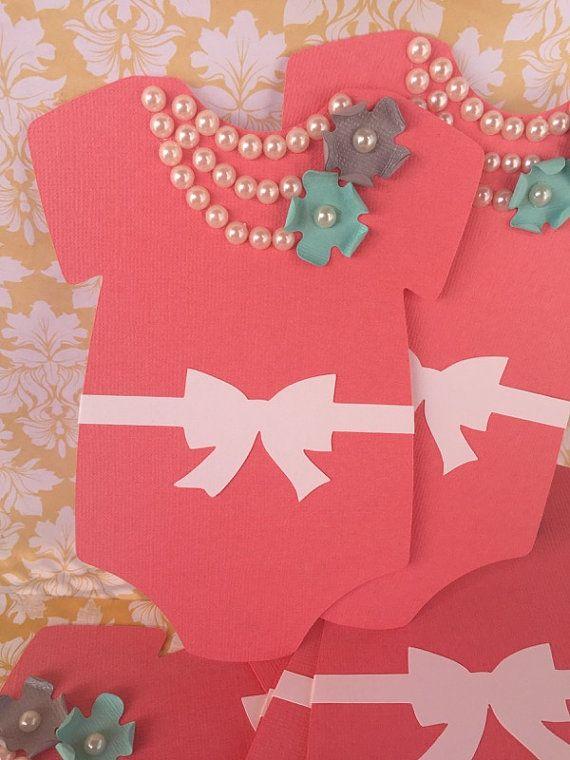 25 Baby Shower Coral Onesie invitation 25 by PaperDivaInvitations
