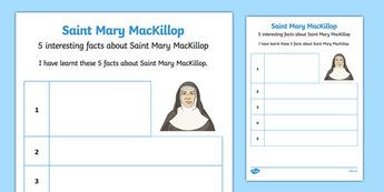 5 Facts About Saint Mary MacKillop Activity Sheet-Australia
