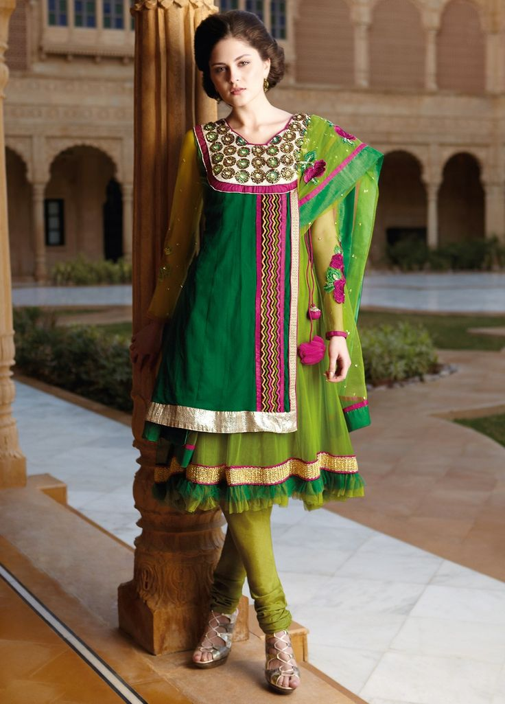 #Georgette Embroidered #suit with chiffon Dupatta and Dyed rayon Bottom.