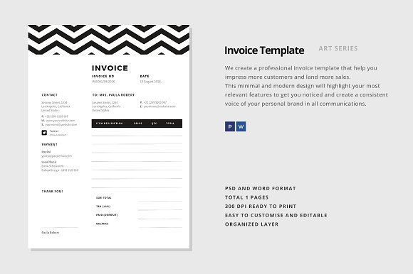 Invoice Template By Ario M On Creativemarket Invoice Template Invoice Design Template Invoice Template Word