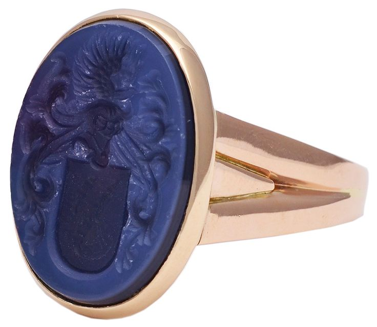 French Antique Lapis Gold Signet Ring image 2