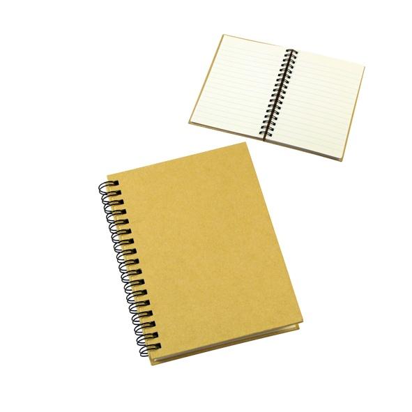 COD.EC027 Cuaderno Ecológico con Tapas Duras de Cartón Reciclado 650gsm, 70 hojas interiores cuadriculadas y prepicadas de papel reciclado y anillado metalico doble cero.