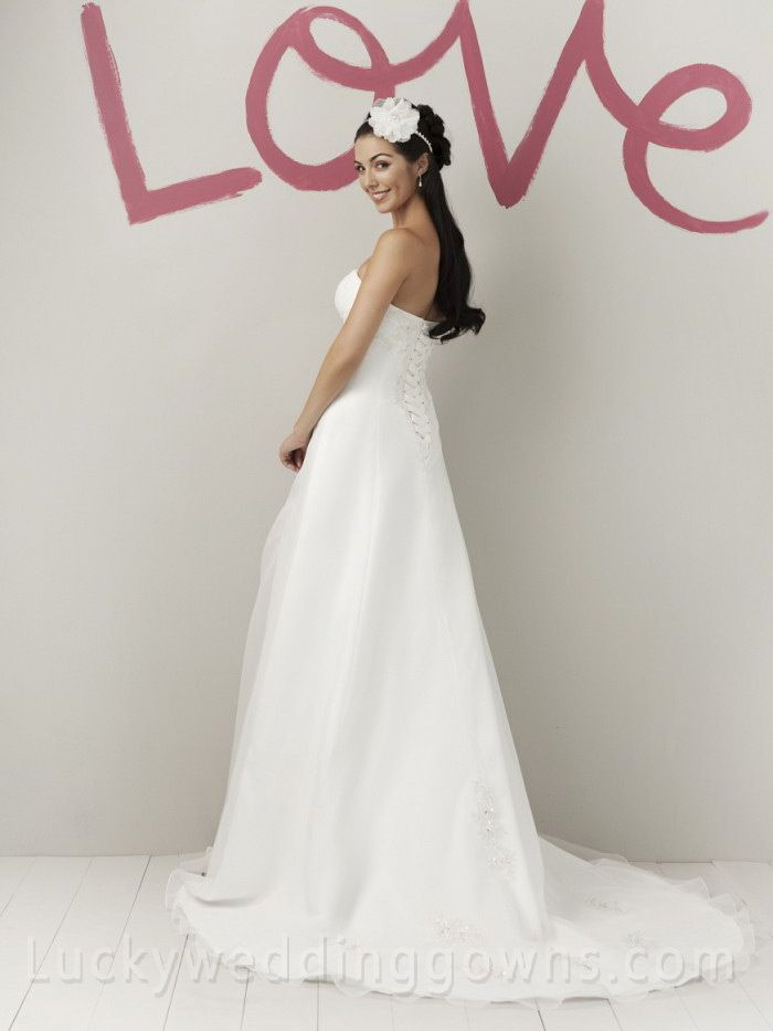 organza sweetheart stylish spring wedding dress beaded lace appliques