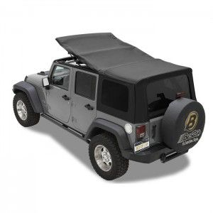 Bestop Twill Supertop NX Soft Top with Tinted Rear & Side Windows, No Doors, Complete Soft Top - Black Twill - 54823-17
