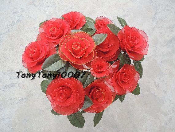 Handmade Red Roses Nylon Flower Decor Never Fade