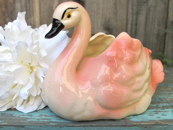 Vintage Swan Planter Pink Swan 1950s Home by UnderTheSycamores