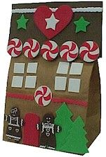 Paper Bag Gingerbread House - Cute Idea. This would be fun to do in the classroom