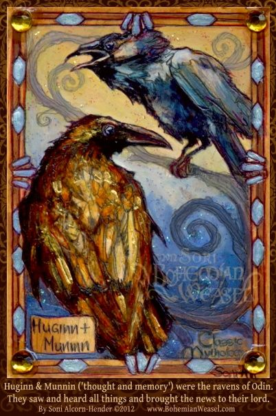 Huginn and Muninn (Thought and Memory). Odin sent them out each day to fly over the land and to return with news of all that happened. Sketch card for the trading card set 'Classic Mythology 1' from Perna Studios.