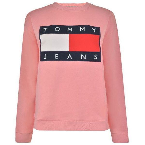 Tommy Jeans 90S Sweatshirt ($115) ❤ liked on Polyvore featuring tops, hoodies, sweatshirts, logo sweatshirts, red long sleeve top, crew neck tops, crewneck sweatshirt and tommy hilfiger top