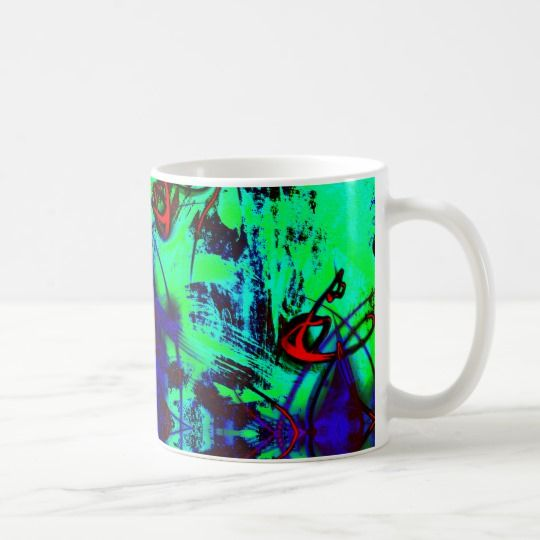 Neon green abstract coffee mug