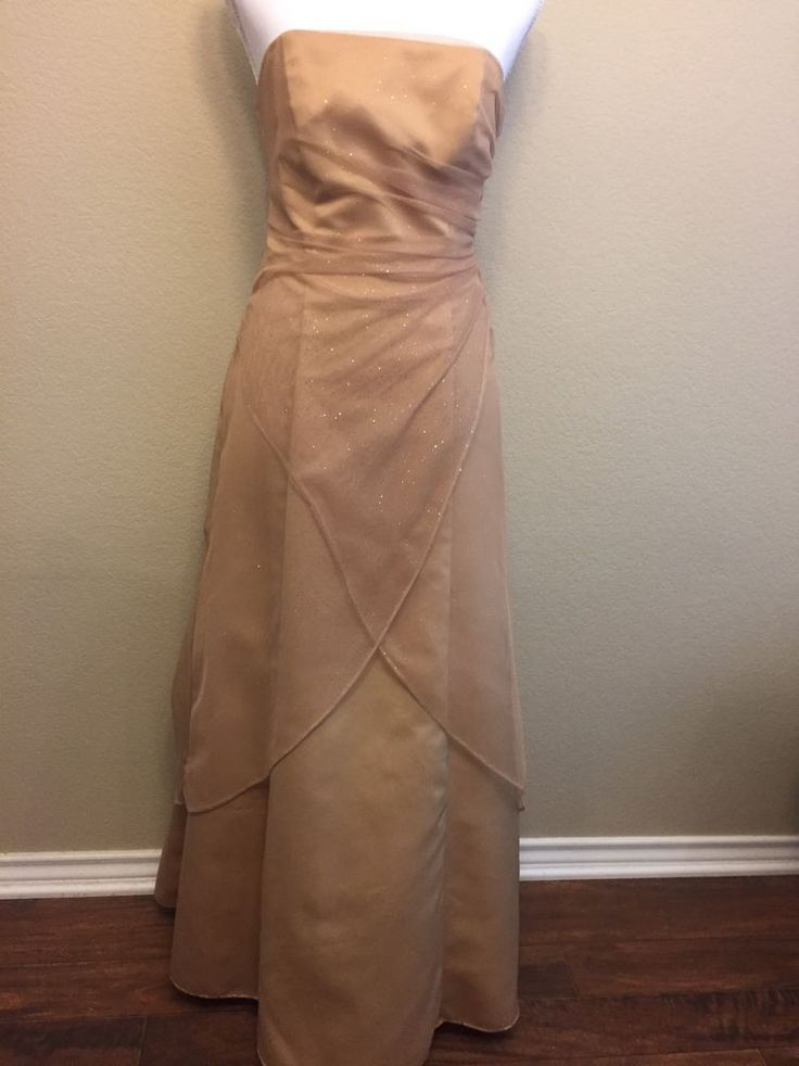 Morgan and Co SZ 3/4 Tall Gold Glitter Formal Prom Gown Long Bridesmaid Dress #MorganCo #Corset #Formal