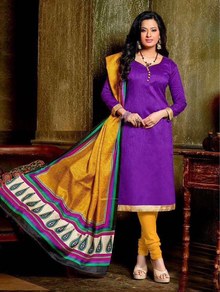 Purple Bangalore Silk Suit with Zari Work