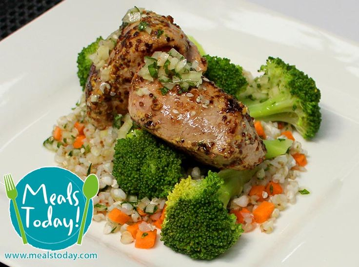 Mustard Crust Pork Loin with Buckwheat and Broccolini  Available to order now, for delivery on Tue 16th September  www.mealstoday.com    #mealstoday