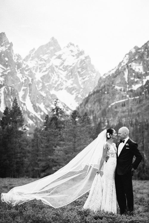 Brides:  Inbal Dror gown Jackson Hole Real Wedding Photos: An Elegant Mountain Wedding in Wyoming