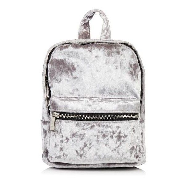 Grey Velvet Backpack (98 PLN) ❤ liked on Polyvore featuring bags, backpacks, backpack bags, gray backpack, velvet bags, knapsack bag and grey backpack