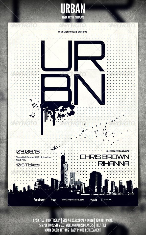 Urban Flyer / Poster #GraphicRiver Urban Flyer / Poster Promote any kind of music event. Trance, Techno, Electro, Pop, Rock, Concert, Festival, Party or weekly event in a music club and other kind of special evenings. Help File included. 1 psd File Print Ready A4 29,7×21 CM + bleed 300 dpi CMYK Well Organized Layers Professional clean design Easy to use Help File Fonts Used Open Sans – .fontsquirrel /fonts/open-sans Orbitron – .theleagueofmoveabletype /orbitron Social Logos – .dafont…