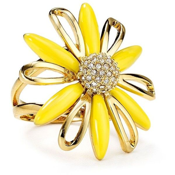 kate spade new york Daisy Dreams Ring ($98) ❤ liked on Polyvore featuring jewelry, rings, yellow, kate spade ring, kate spade, daisy ring, kate spade jewelry and yellow ring