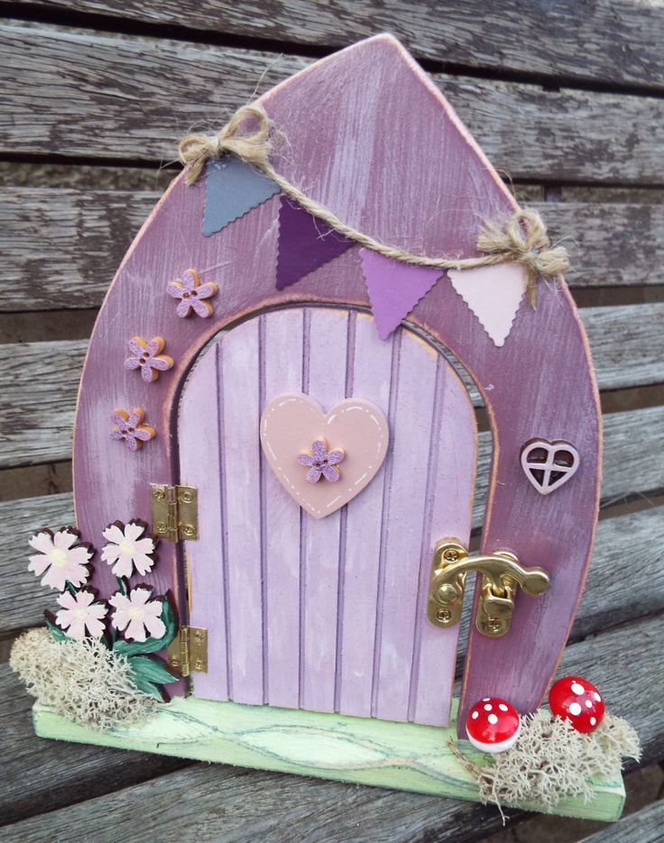 Wooden fairy door free standing hand painted custom for Wooden fairy doors