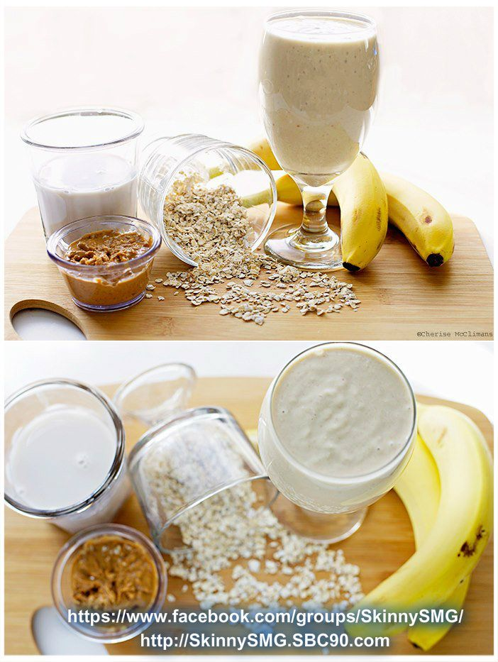 Peanut Butter Banana Oatmeal Smoothie Recipe serves 2 2 bananas sliced and frozen 1/4 cup oats 1/4 cup natural peanut butter (or sub PB2 to reduce the fat) 3/4 cup skim milk or almond milk Put oats in blender and blend until they're powdery. Add remaining ingredients and blend until there are no more chunks of frozen banana. Garnish with fresh banana slices if desired.