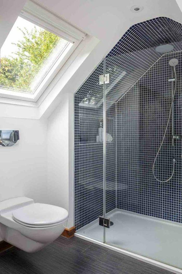 Salle De Bain 5m2 Douche Italienne Avec Mosaique En Bleu Et Blanc