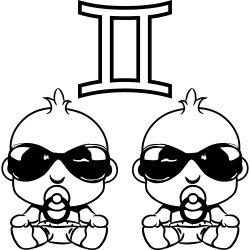 T-Shirt dessin   Horoscope Gémeaux de lunettes de soleil bébé Gémea