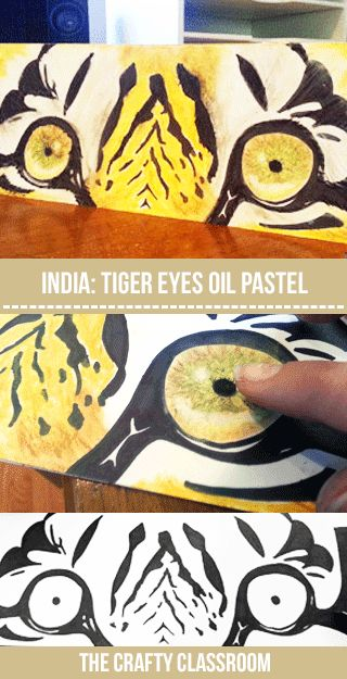 Tiger Oil Pastel Tutorial: Art projects for your unit study on India. Easy step by step photo tutorial for children to draw and color their own stunning Tiger Eyes: