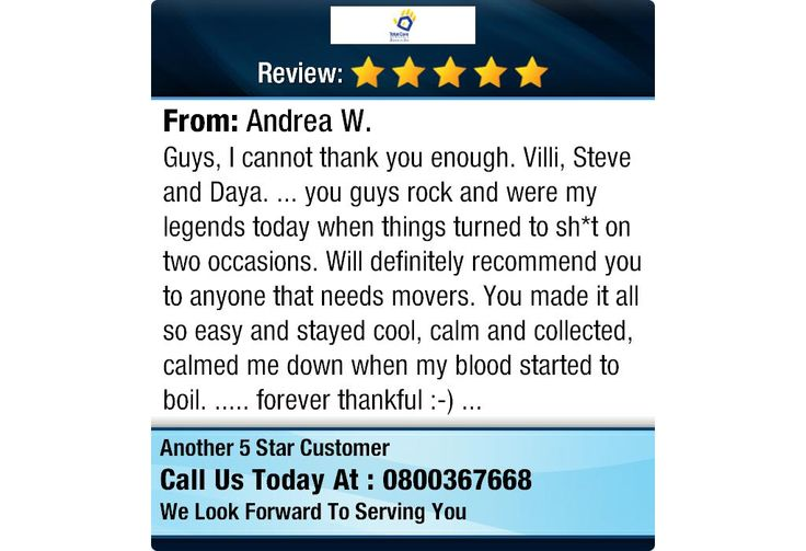 """5 Star: Andrea W. """"Guys, I cannot thank you enough. Villi, Steve and Daya. ... you guys rock and were my legends today..."""" #houserelocations #officeremovals #totalcareremovals"""