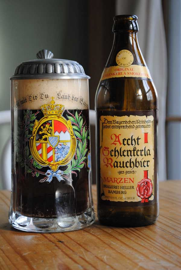 "Aecht Schlenkerla Rauchbier. One of the most interesting beers I have ever tasted. Definitely a ""Man's Beer"".   This beer is not for everyone but...   If you like Bacon or smoked ham, you'll love this beer."