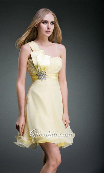 Vestito da Cocktail Corto Scollo Cuore Giallo ACM002 #chicabiti #abiti da cerimonia #prom dresses