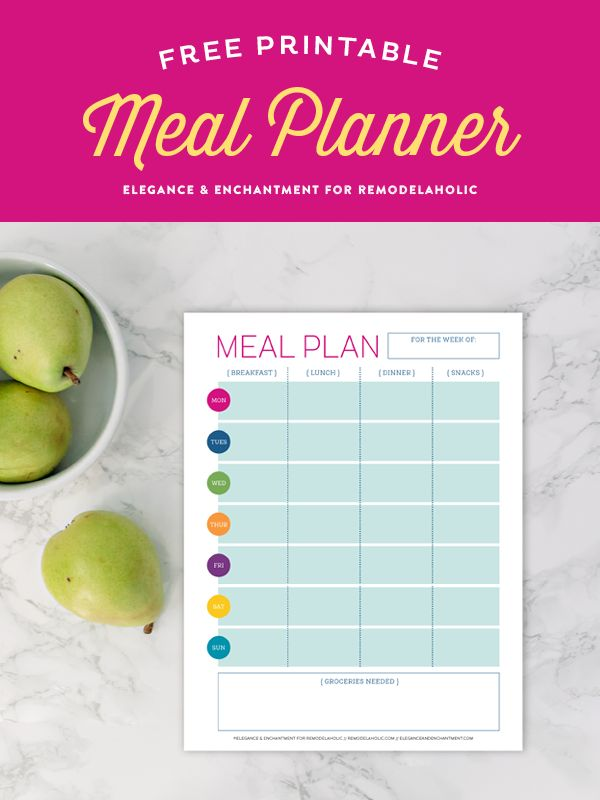 Get your new year on track with this free printable meal planner. With a space to plan all of your breakfasts, lunches, dinners and snacks, you can stay organized and disciplined to keep a healthy diet. Design by Elegance & Enchantment for Remodelaholic.