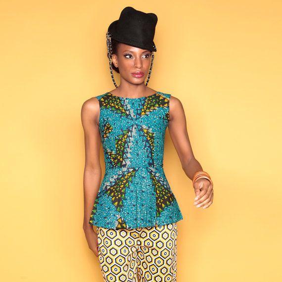 Peplum top, African Print Peplum Top, Ankara Peplum Top, Afrobot Print Peplum Top, Teal and Yellow women's top, Abstract pattern