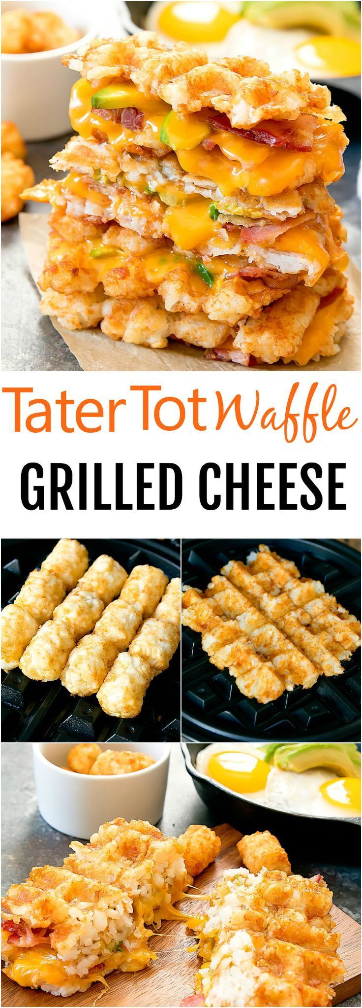 Crispy tater tot waffles are used as the �bread� for this breakfast grilled cheese sandwich filled with bacon, cheese and avocado slices.