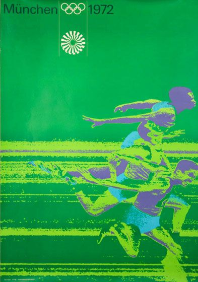 Poster design from Munich Olympics, 1972.