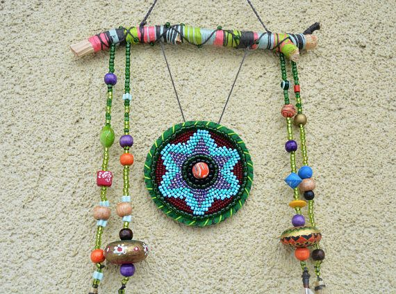 Tribal Totem Wall Hanging Beaded Medallion Wall Art Native American Inspired Home Accents Southwestern Housewarming Gift Handmade Wall Decor Medallion Wall Art African Wall Art
