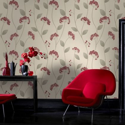Premier Claire Wallpaper - Red at Homebase -- Be inspired and make your house a home. Buy now.