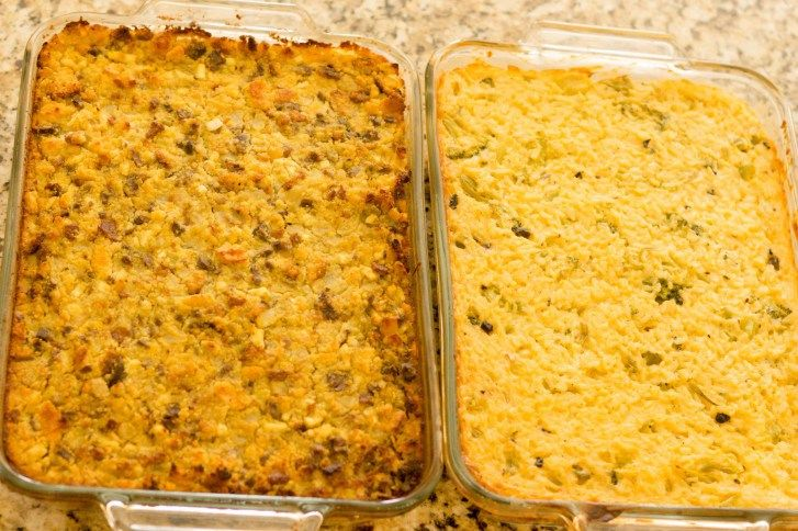 cooked two dishes Rice broccoli casserole and cornbread dressing