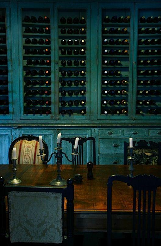 Deep green turquoise wine cabinet
