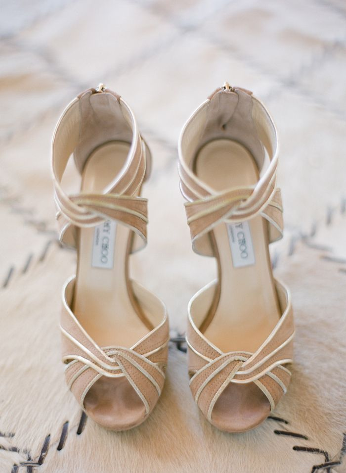 Get inspired: Neutral Jimmy Choo heels. Perfect for brides looking for a wedding pair they can re-wear!