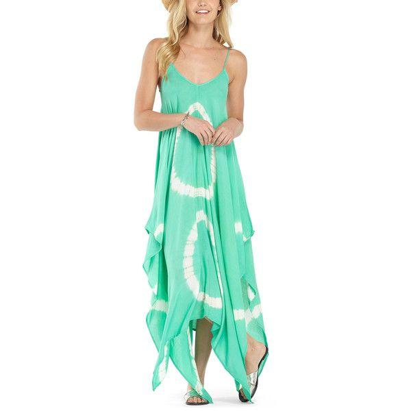 Lagaci Mint Tie-Dye Side-Slit Maxi Dress ($27) ❤ liked on Polyvore featuring dresses, mint maxi dress, maxi dress, tie-dye maxi dresses, boho maxi dress and mint dresses