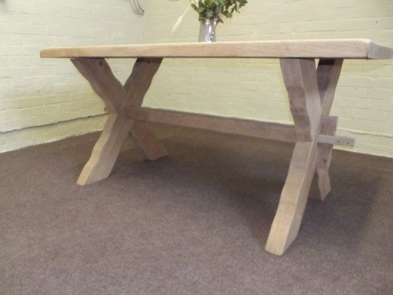 Large Solid Oak Farmhouse Dinning Table  2 Thick 160x80x75 £150