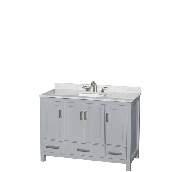 Wyndham Collection Sheffield 48-inch Gray Single Vanity, Undermount Oval Sink