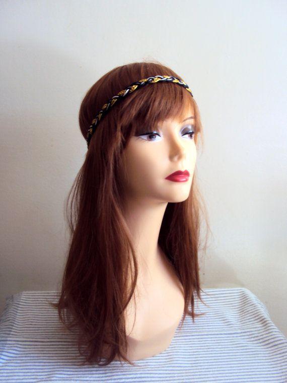 Boho Chic Headband Hippie Headband Braided Head Band Elastic Back Women Hair Accessories Bridal Accessories by GrahamsBazaar, $10.00