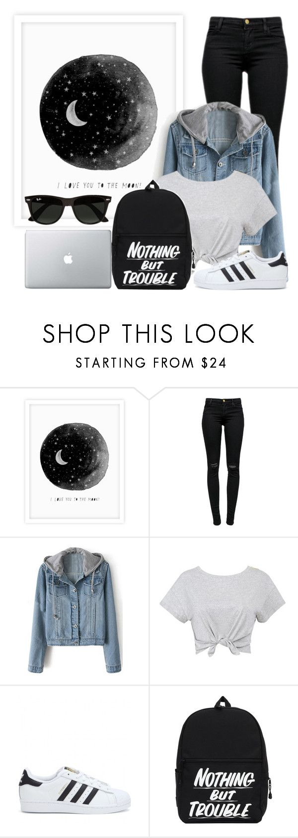 """""""Nothing But Trouble"""" by carmen3601 ❤ liked on Polyvore featuring J Brand, adidas, Ray-Ban, popular and outfitideas"""