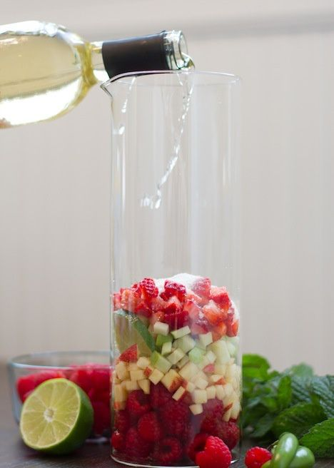 Summer Sangria 1 small carton of raspberries 1 small carton of strawberries 1 lime 2 apples, granny smith and a braeburn 1 Serrano pepper (more if you are daring) 1 bottle of Viognier ½ cup of white grape juice ¼ cup sugar 1 can of club soda Mint leaves for garnish