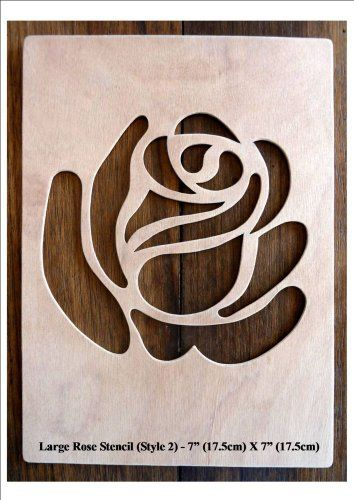 """Beautiful Large Sized Hand Crafted MDF 'Rose' Drawing Template / Stencil - 7"""" X…"""