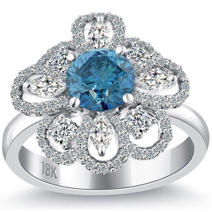 2 69 Carat Fancy Blue Diamond Flower Shape Engagement Ring 18k White Gold B