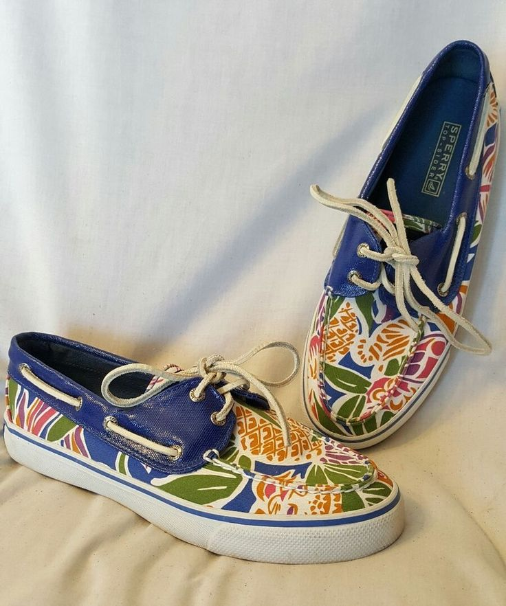 awesome!  no condition issues to disclose<br/><br/>Sperry Top-Sider Women's Bahama 2-Eye Shoes size 8 M bright royal blue multi color Hawaiian print. A cooler lighter version of the original Sperry Top-Sider boat shoe in canvas. Canvas/leather upper in a boat shoe style casual oxford with a stitched seam moc toe. Fun and fashionable! | eBay!